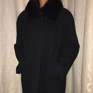 Forecaster wool swing coat with fox collar